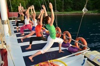 Yoga on the deck of a yacht